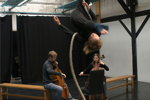 Rope flick with cellists.